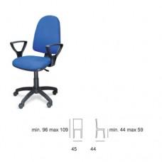 Sedia da ufficio, con braccioli fissi, seduta e schienale in tessuto, Modello SC-TORINO 301