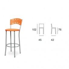Sgabello struttura telaio in tubolare verniciato color alluminio, seduta in plastica chiusa color arancio , indicato per ristorante, pub, sale giochi. Modello SC-SG MARIARCA 112