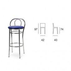 Sgabello alto con struttura in alluminio, seduta chiusa imbottita ecopelle colore blu, indicato per ristorante, pub, sale giochi. Modello SC-SG ALTO 109