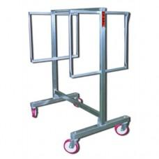 Carrello in acciaio inox Aisi 304, per asciugatura salumi a 2 piani, telaio in tubolare in acciaio inox rinforzato, ruote con supporti inox girevoli.