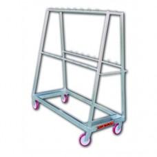 Carrello in acciaio inox AISI 304, porta frattaglie suine completo di ganci, con 2 ruote fisse e 2 girevoli, dimensioni 1500x700xh1700 mm