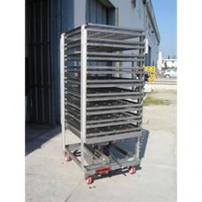 Carrello formatore pressata interamente in acciaio inox AISI 304, dimensioni 890x1000x2075h mm