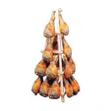 Espositore per prosciutti in legno, dimensioni 190x95 cm