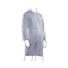 Camice in PLP peso 30 gr, con colletto, elastico ai polsi, chiusura velcro, una tasca interna al cuore. Confezione da 50 pezzi.
