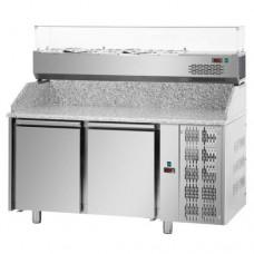 Tavolo Pizza refrigerato 60x40 in acciaio inox con 2 porte e piano in granito, temperatura 0° + 10° C, dimensioni 1610x800x1030h mm