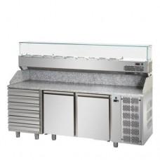 Tavolo Pizza refrigerato 60x40 in acciaio inox con 2 porte, 6 cassetti neutri e piano in granito, gruppo motore a sinistra, temperatura 0° + 10° C, dimensioni 2160x800x1030h mm